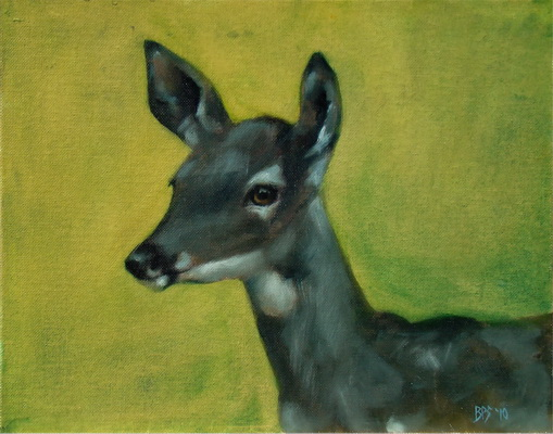 White Tailed Doe in Lime Green
